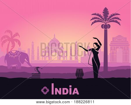 Stylized landscape of India with the Taj Mahal, an elephant and a dancer