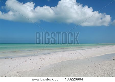 The tropical beach of Holbox on Mexico