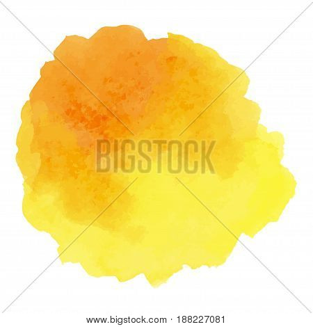 Abstract Watercolor yellow hand painted circle. Beautiful watercolor design elements. Watercolor background. Color trend