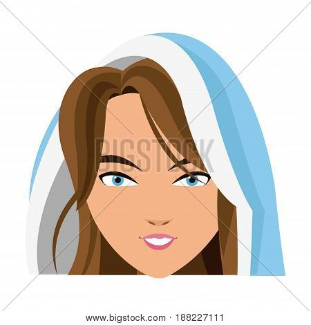 cartoon cute virgin mary character nativity design. vector illustration