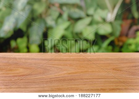 Empty wooden table on blurred garden background.