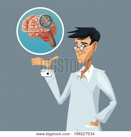 realistic color poster closeup scientist with research to brain vector illustration