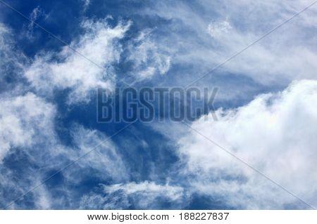 Cloudscape background of dramatic cirrus and cumulus clouds