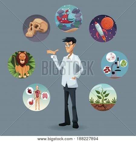 realistic color poster icons world evolution around of scientist vector illustration