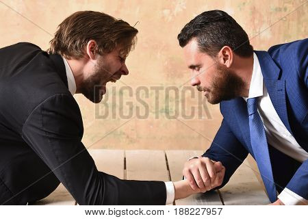 Loser Man Shouting, Arm Wrestling Defeat And Victory Of Businessman