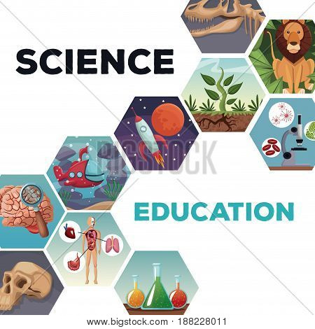 cover page science and education with icons world evolution vector illustration