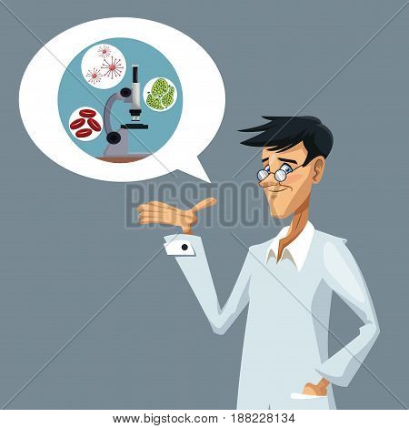 realistic color poster closeup scientist and dialog box with microscope with icons of globules and cells vector illustration