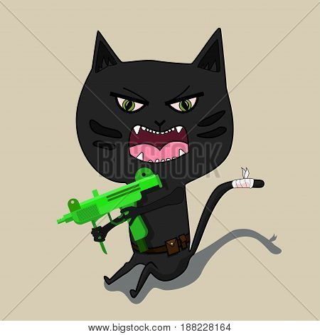 Aggressive cat is a terrorist with a gun. Cute black cartoon cat. Big mustache whisker. Funny character. Flat design. White background. Isolated. Vector illustration
