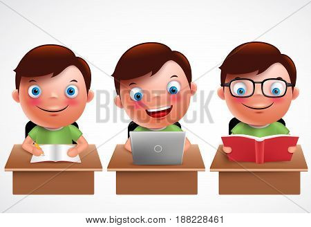 Boy kid vector characters set. Male preschool student studying, reading and browsing in laptop in the desk table with happy smile isolated in white background. Vector illustration.