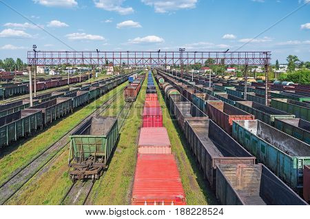 Town junction railway yard on which sorting of freight railway trains takes place