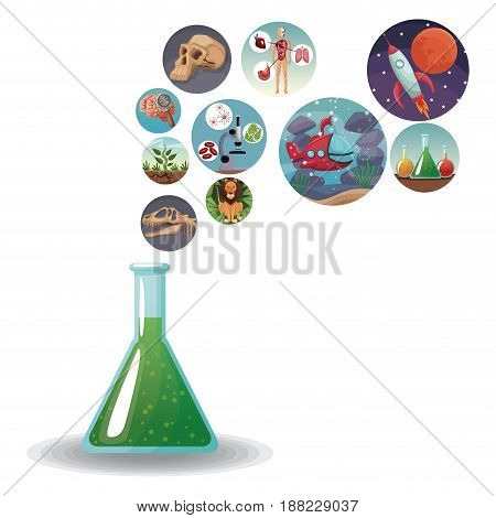 glass beaker formula with icons with picture world evolution in bubbles vector illustration