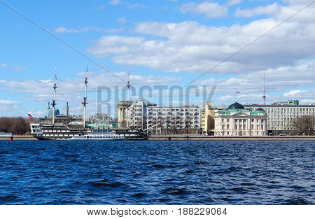 SAINT PETERSBURG RUSSIA - MAY 3 2017: Frigate