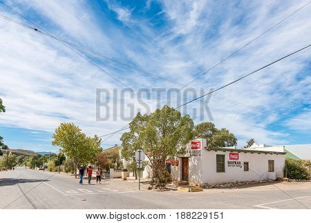 MCGREGOR SOUTH AFRICA - MARCH 26 2017: A street scene with a supermarket in McGregor a small town in the Western Cape Province