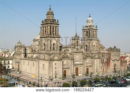 Mexico City Mexico - 9 January 2009: Metropolitana cathedral on Zocalo square at Mexico City Mexico