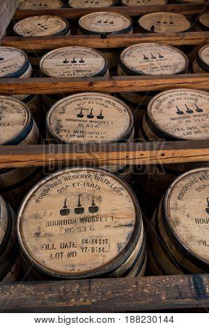 Versailles United States: May 3 2017: Racks of Bourbon Barrels in Warehouse Along Kentucky Bourbon Trail