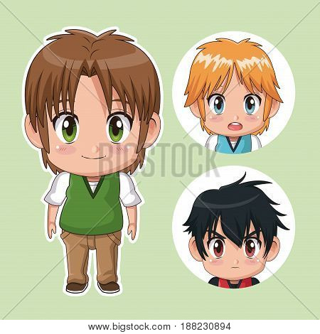 green color set cute anime tennagers with facial expressions vector illustration