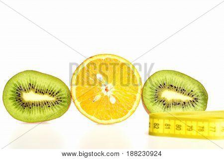 Fruit Trio Composition Made Of Kiwi And Orange