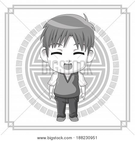 monochrome background with silhouette cute anime tennager facial expression laugther with eyes closed vector illustration