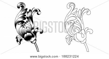 Set of vintage baroque ornaments, corners. Retro pattern antique style acanthus. Decorative design element filigree calligraphy vector. - stock vector