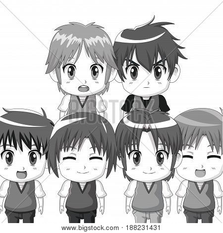 monochrome set silhouette half body cute anime tennagers facial expressions vector illustration