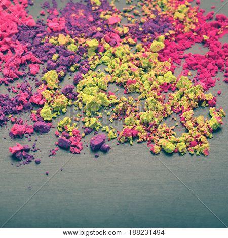 Closeup of Indian Holi colors. Festival Holi dyes background