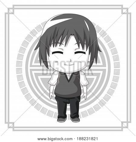 monochrome background japanese symbol with silhouette cute anime tennager facial expression smile with eyes closed vector illustration