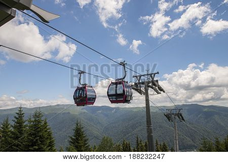 lift cabin in the mountains sumer time