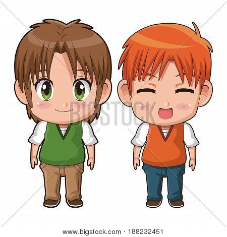 colorful full body couple cute anime tennager facial expression happiness vector illustration
