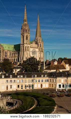 The famous cathedral of Chartres-front view, France.