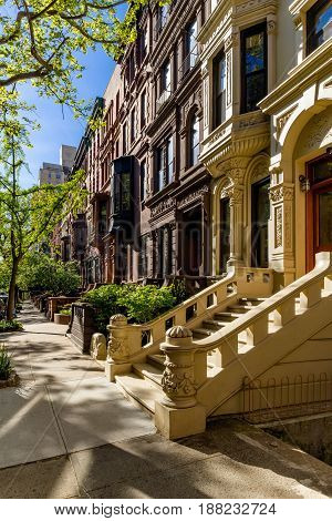 Row of brownstones with doorsteps and ornament in morning light. Upper West Side Street Manhattan New York City