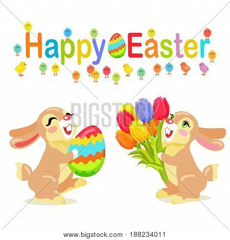 Happy Easter greeting card design. Milk chocolate bunnies with tulips and decorated easter egg as presents isolated on background. Vector illustration of sweet gifts on easter. Nice sweetness mascots