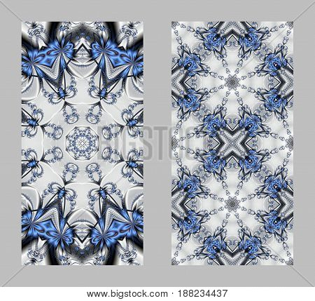 Mobile phone cover back with beautiful blue Pattern in fractal design.
