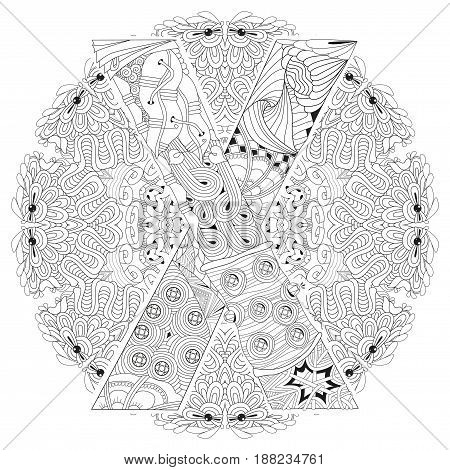 Hand-painted art design. Adult anti-stress coloring page. Black and white hand drawn illustration mandala with letter X for coloring book