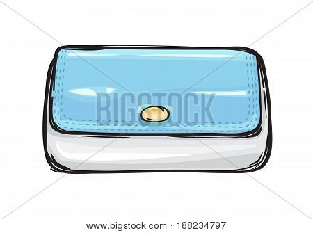 Trendy clutch bag or purse flat theme art style on background. Fashionable hand drawn pattern. Vector illustration of fashion. Modern handbag icon for infographics, websites and app.