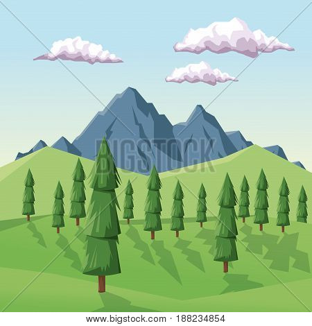 colorful background with daytime landscape of mountain valley vector illustration