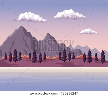 colorful background with dawn mountain valley landscape and lake vector illustration