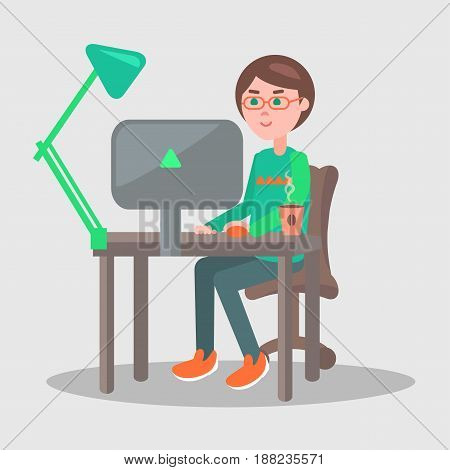 Male cartoon character sits at table with green lamp, cup of coffee and computer in office with grey walls. Vector illustration of comfortable work process. Man works on laptop in cozy atmosphere.