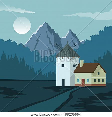 colorful background with night landscape of mountain and house with windmill vector illustration