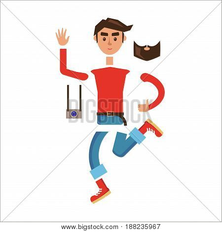 Hipster character constructor. Cartoon man generator with clothes, body parts, photo camera and  beard flat vector isolated on white. Smiling young tourist disassembled to pieces body illustration