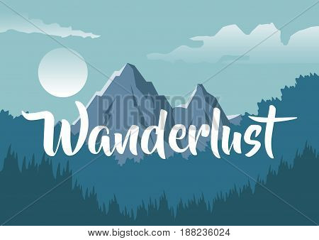 colorful background with night landscape of mountain and forest with text wanderlust vector illustration