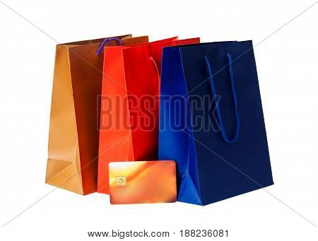 Colorful shopping bags and credit card isolated on white background