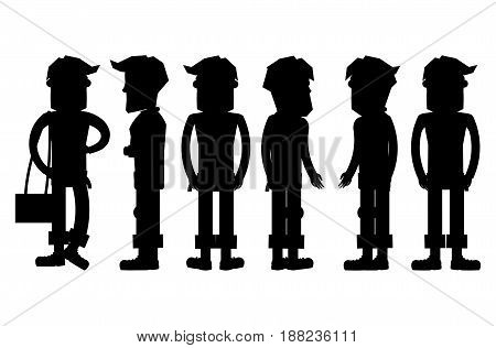 Set of hipster characters silhouettes. Collection of bearded men with rolled up pants and boots standing straight from different sides view vector figures isolated on white background