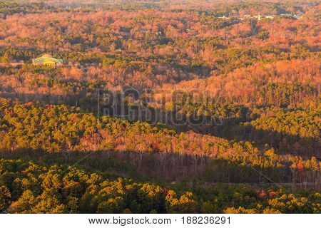 Aerial view of forest and settlements from the Stone Mountain at sunset Georgia USA