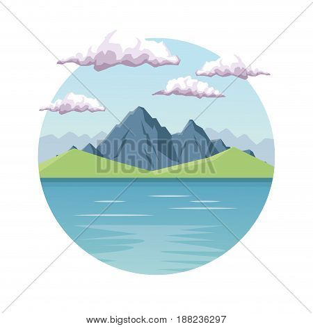 white background with daytime landscape in round frame with mountain valley and lake vector illustration