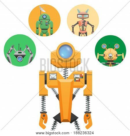 Yellow robot with retractable round eye and four small round icons. Metal electronic device with black springs, measuring scale, dish antenna, colored buttons and switches vector illustration