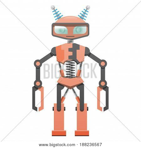 Red robot with pincer hands and two horns art icon on white background. Metal head, black and red body, powerful legs fastened by black spring. Protective screen in front of eyes vector illustration.