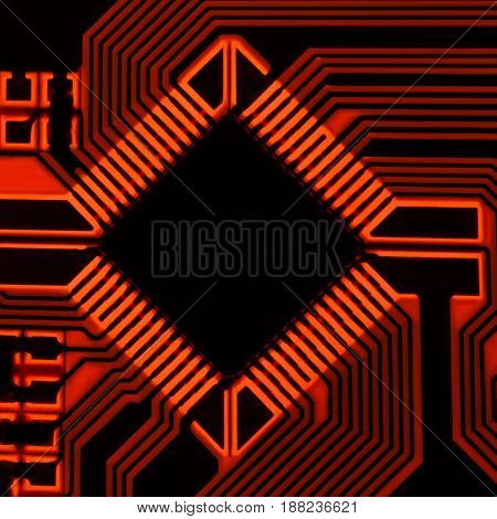The silhouette of the electrical board with a microprocessor is illuminated by red light.