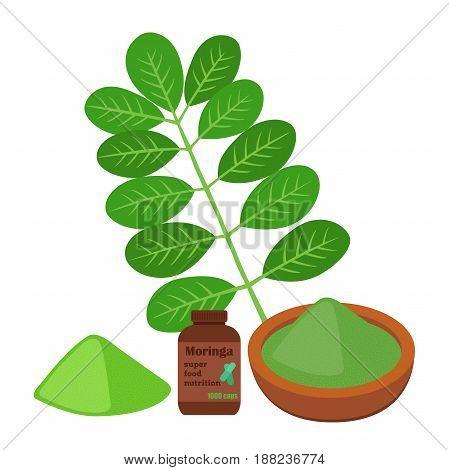 Moringa, vegetarian superfood. Healthy nutrition. Herb, vegetable, powder, pills. Cartoon flat vector style.