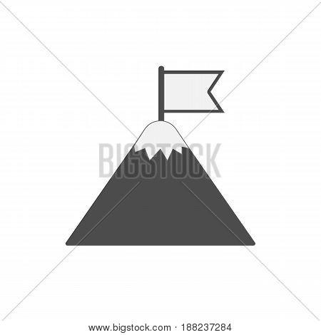 Flag on mountain. Mountain peak with flag icon. Vector illustration. Eps 10