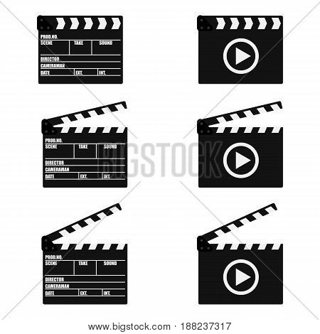 Set of movie clapperboard. Clapperboard icon. Movie production sign. Video movie clapper equipment. Filmmaking device. Isolated on background. Vector illustration eps 10